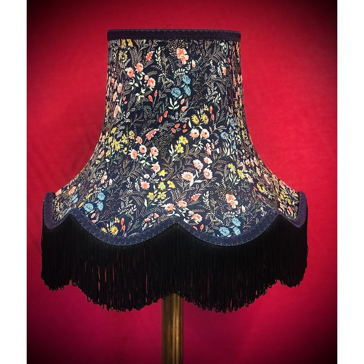 Navy Blue and Black Floral Fabric Lampshades