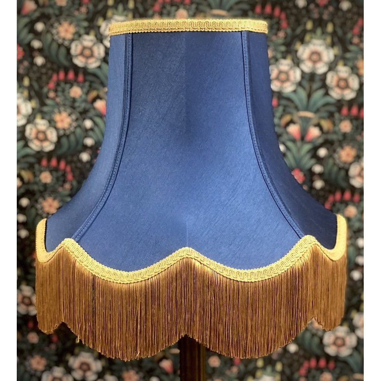 Navy Blue and Gold Fabric Lampshades