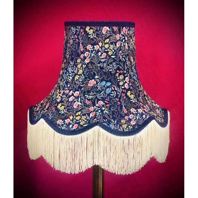 Navy Blue Floral Fabric Lampshades