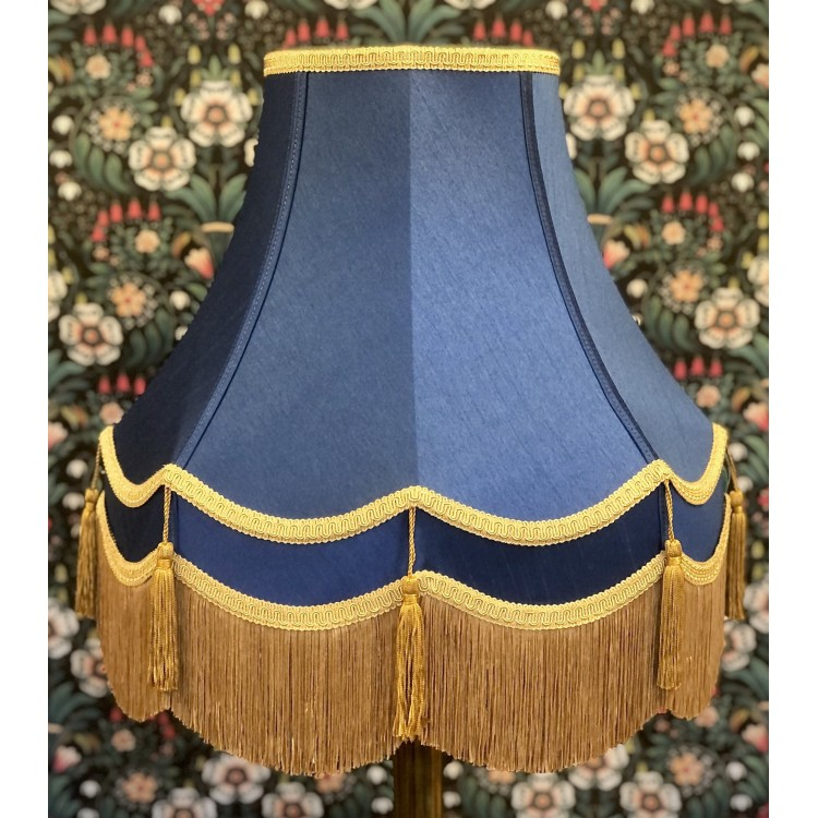 Navy Blue and Gold Double Fabric Lampshades