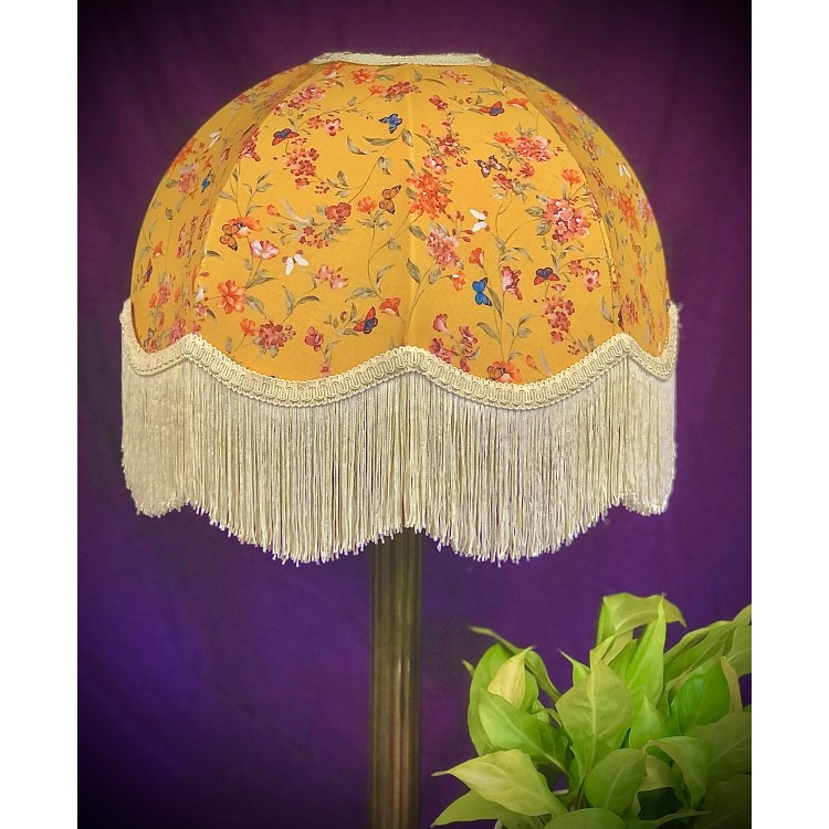 Ochre Butterfly Floral Dome Fabric Lampshade