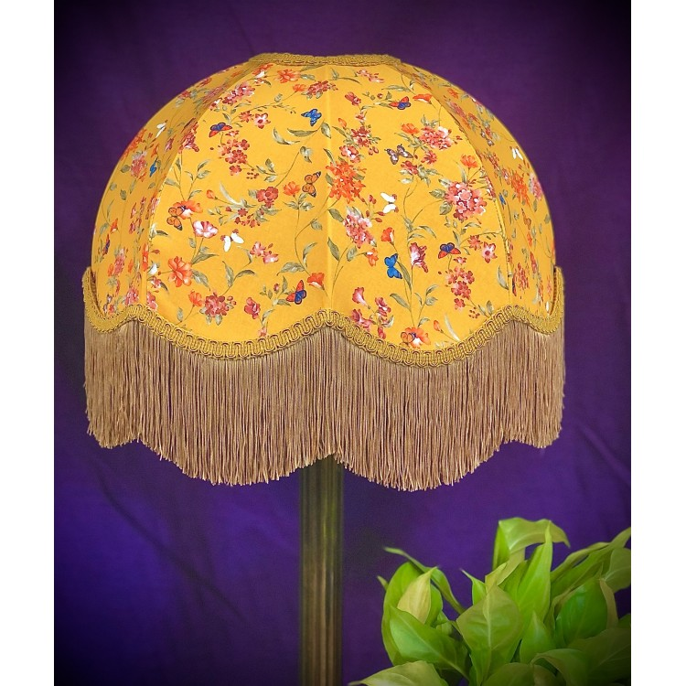 Ochre Butterfly Floral Gold Dome Fabric Lampshade