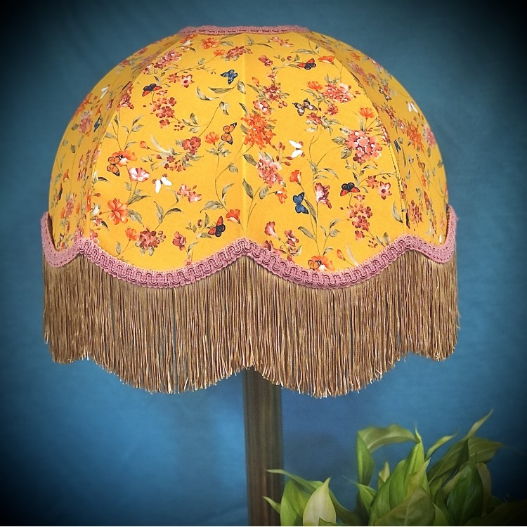 Ochre Butterfly Floral Pink Gold Dome Fabric Lampshade