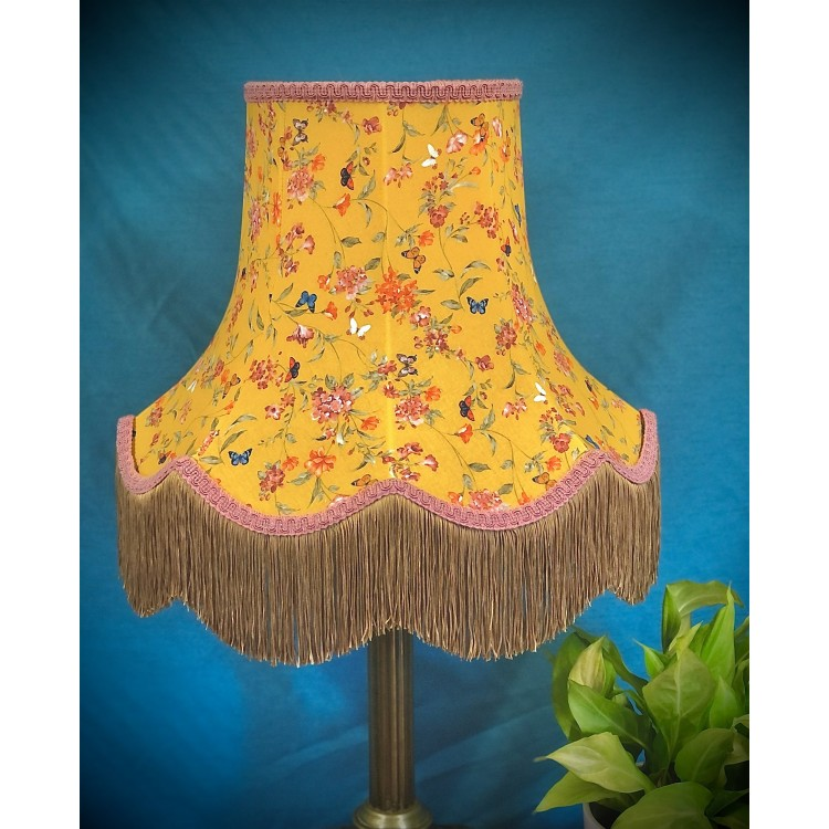 Ochre Butterfly Floral Pink Gold Fabric Lampshade
