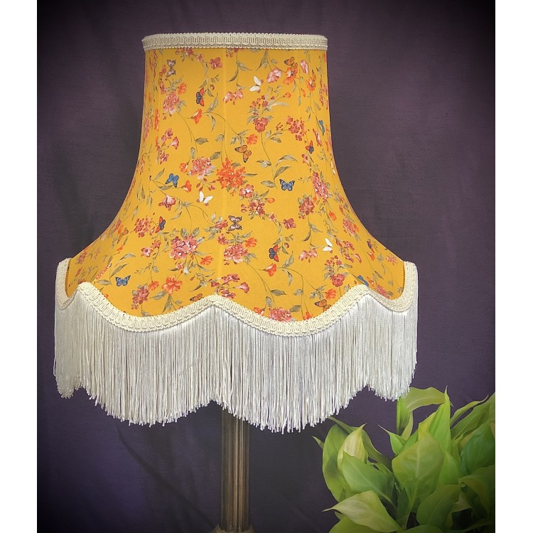 Ochre Butterfly Floral Fabric Lampshade