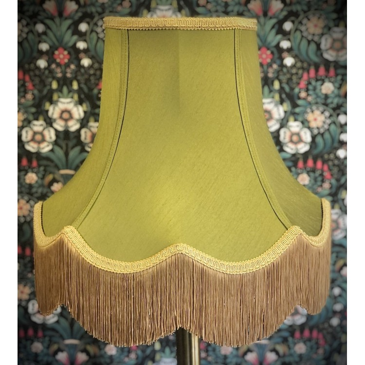 Olive Green and Gold Fabric Lampshades