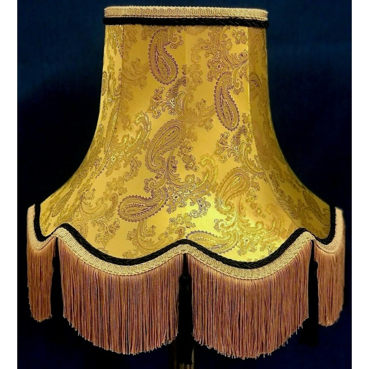 Paisley Gold and Black Fabric Lampshades