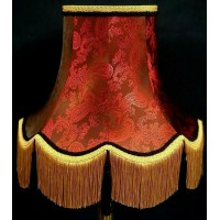 Paisley Jacquard Ruby Red and Black Fabric Lampshades