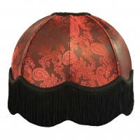Paisley Jacquard Red and Black Dome Fabric Lampshades