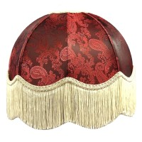 Paisley Jacquard Red and Cream Dome Fabric Lampshades