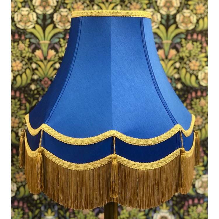 Royal Blue and Gold Double Fabric Lampshades