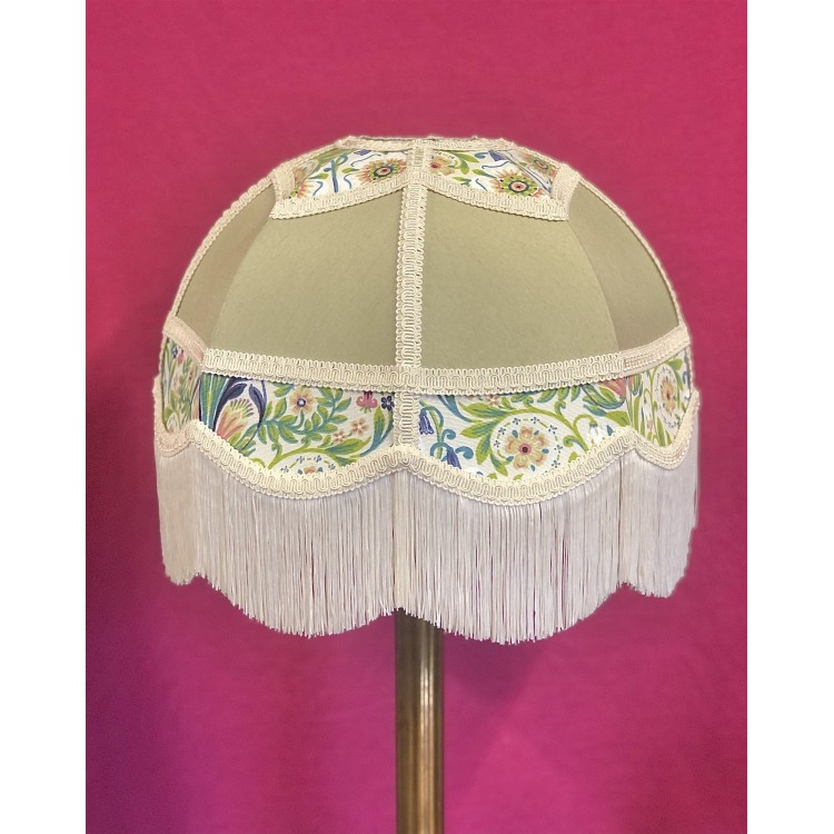 Sage Green and William Morris Panelled Fabric Lampshade