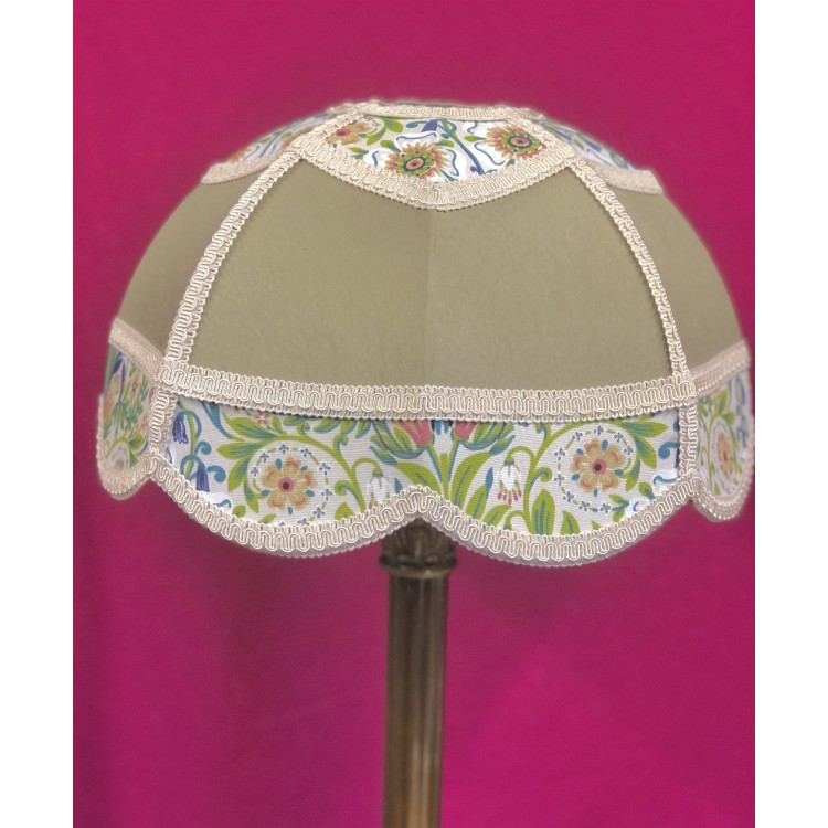 Sage Green and William Morris Panelled Modern Fabric Lampshade