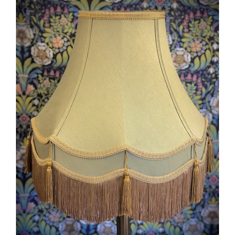 Sage Green and Gold Double Fabric Lampshades