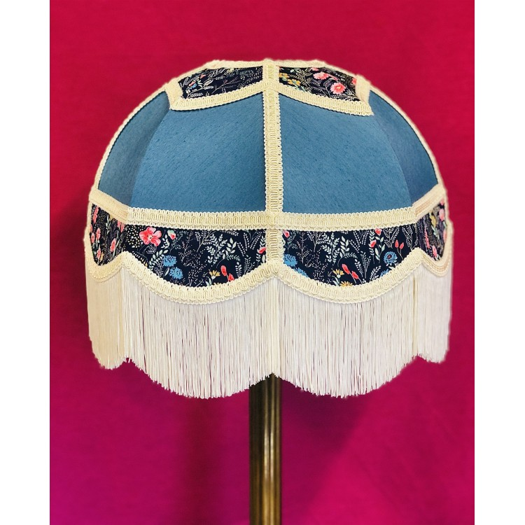 Slate Blue and Navy Floral Panelled Fabric Lampshade