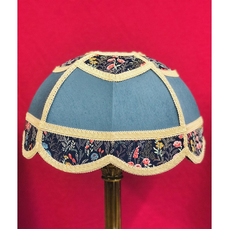 Slate Blue and Navy Floral Panelled Modern Fabric Lampshade