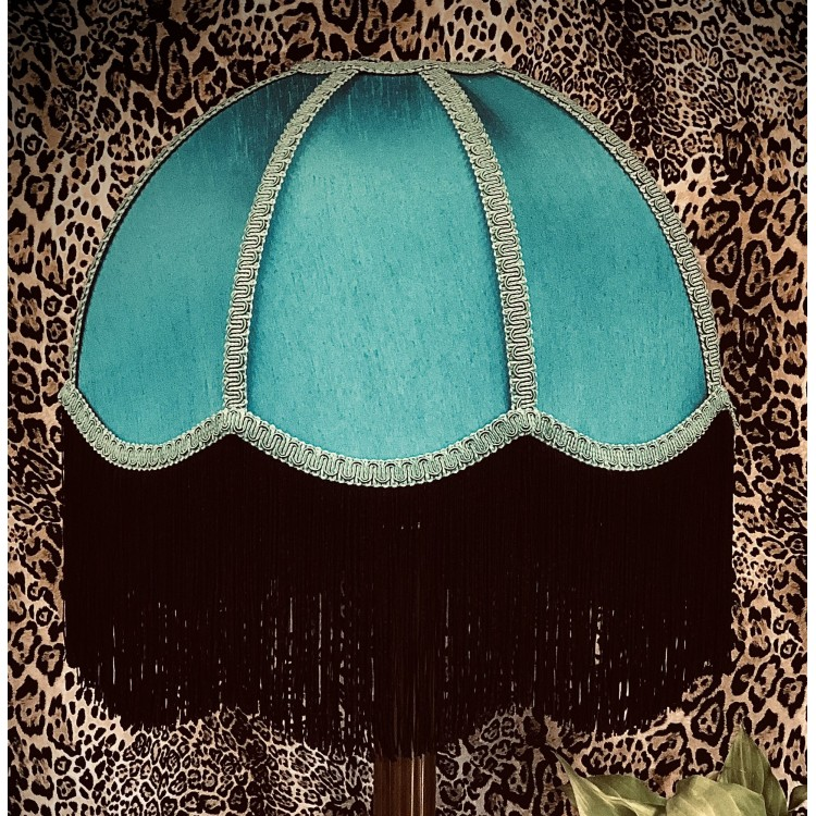 Teal Azure and Black Dome Fabric Lampshade