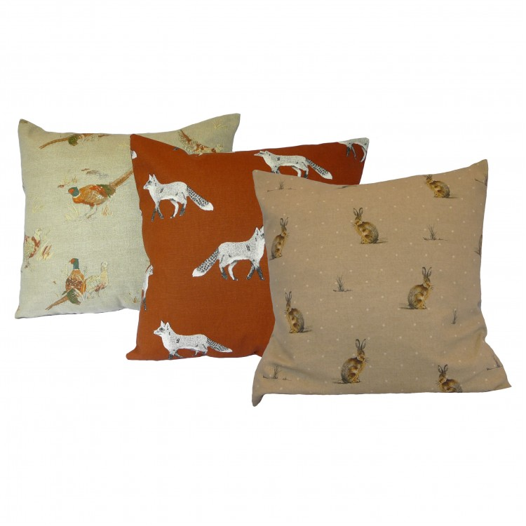 Fox, Hare and Pheasant Fabric Cushion Covers