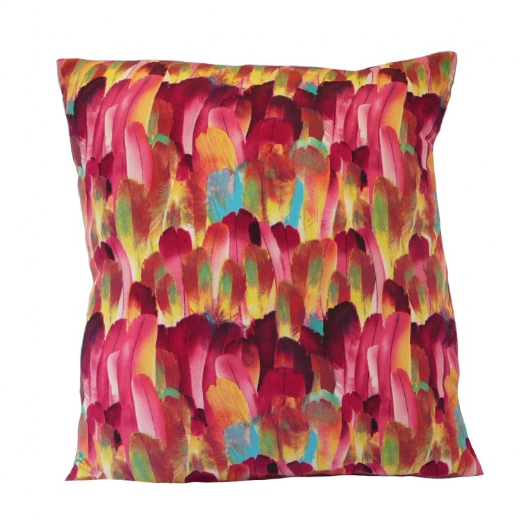 Hot Pink Feather Fabric Cushion Covers