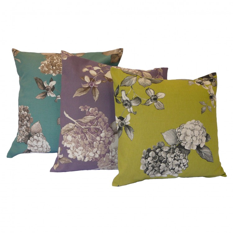 Hydrangea Floral Fabric Cushion Covers
