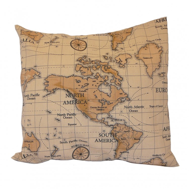 Burnt Orange Map Fabric Cushion Covers