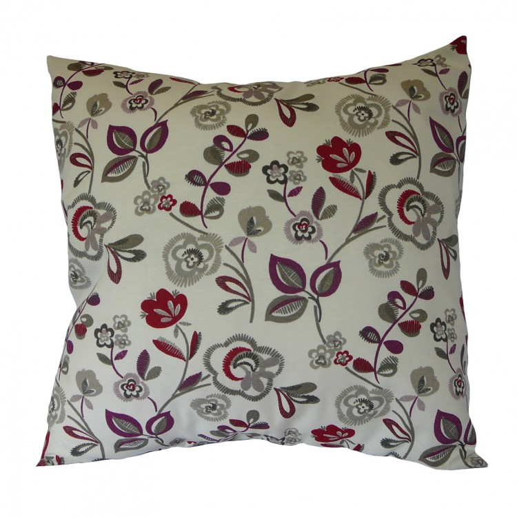 Mulberry Purple / Red Floral Fabric Cushion Covers