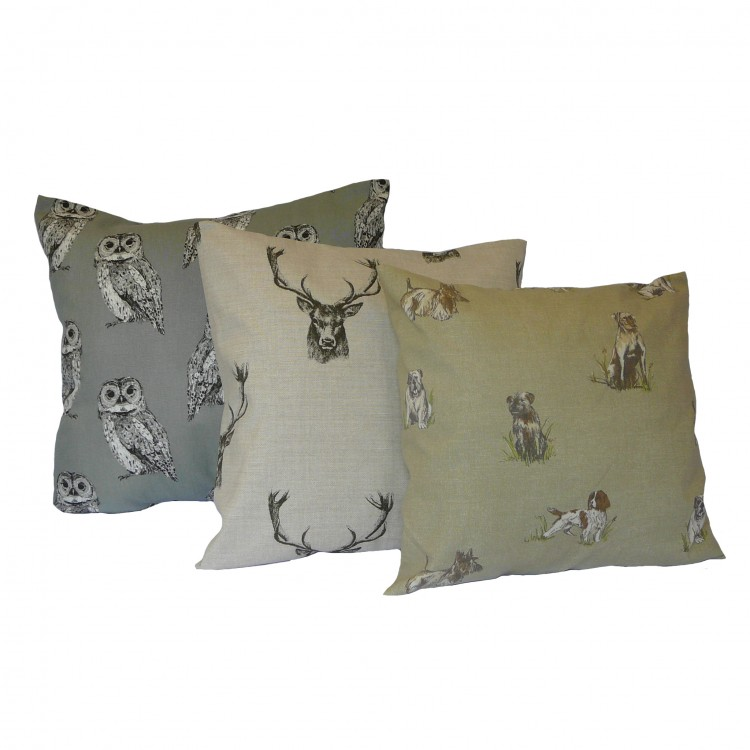 Dogs Owls Stags Fabric Cushion Covers