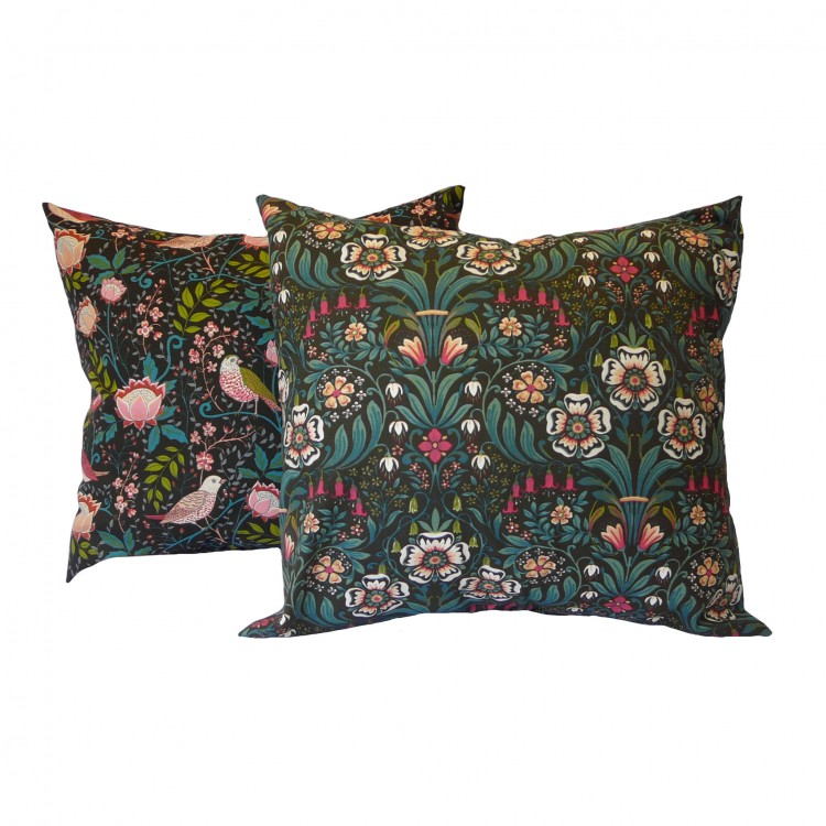 William Morris Black or Strawberry Thief Fabric Cushion Covers