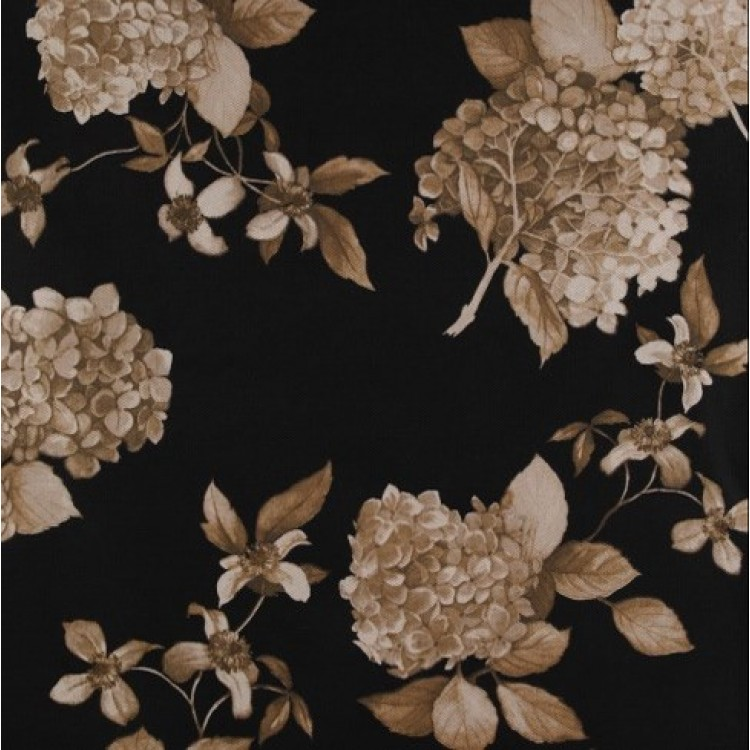 Charcoal Hydrangea Floral Fabric