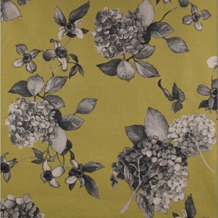 Chartreuse Ochre Yellow Floral Hydrangea Swatch