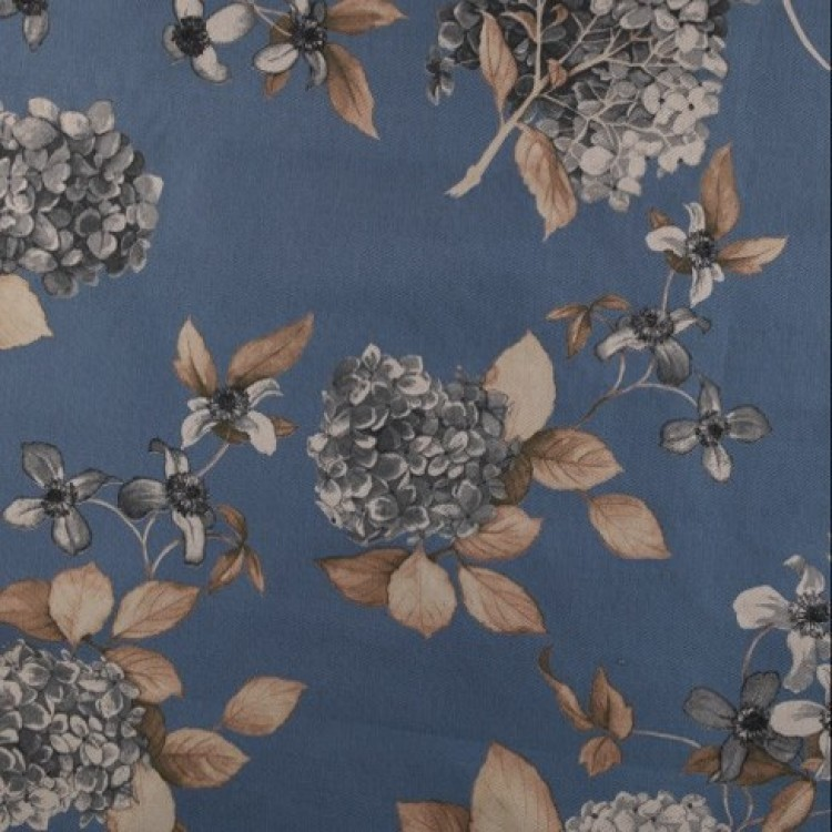 China Blue Hydrangea Floral Fabric