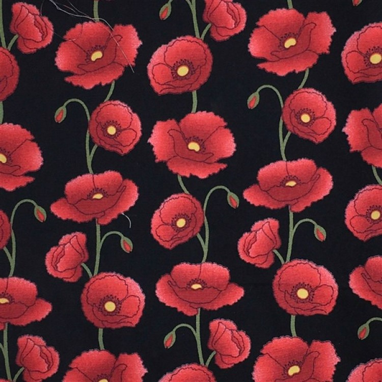 Poplin Poppies Poppy Black Fabric