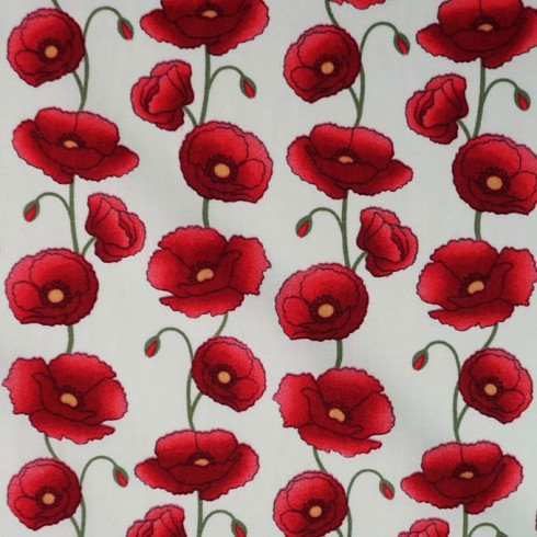 Poplin Poppies Poppy Ivory Fabric