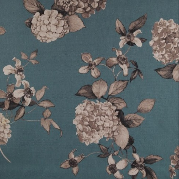 Teal Hydrangea Floral Fabric
