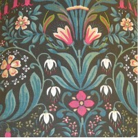 Black William Morris Style Fabric