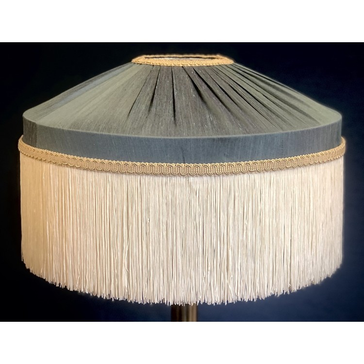 Steel Blue and Cream Gathered Tiffany Lampshades